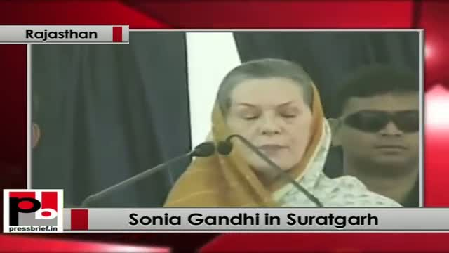 Sonia Gandhi lays foundation stone for power projects in Suratgarh (Rajasthan)