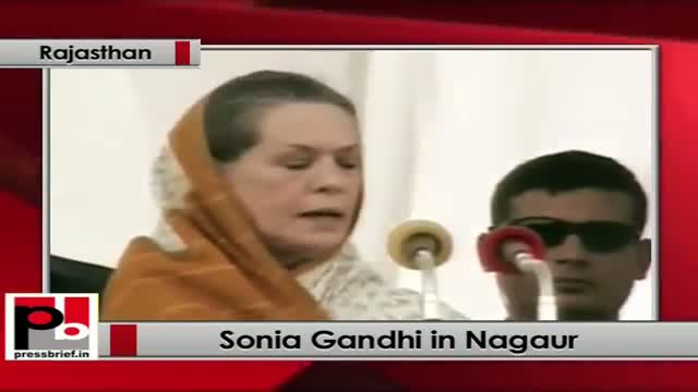 Sonia Gandhi in Rajasthan launches Rs 2398 cr drinking water project at (Jayal) Nagaur