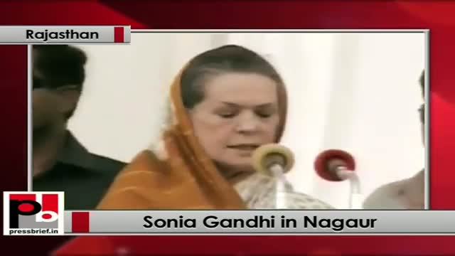Sonia Gandhi launches water project at Nagaur (Rajasthan); praises Gehlot Govt