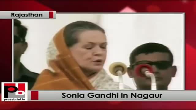Sonia Gandhi at Nagaur (Rajasthan): UPA govt. implemented various historic welfare schemes