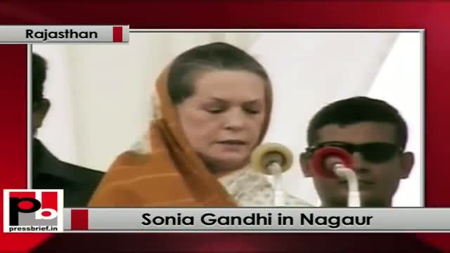Sonia Gandhi at Nagaur (Rajasthan); praises Gehlot Govt for improving drinking water supply
