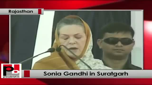 Sonia Gandhi in Suratgarh (Rajasthan) urges people to defeat anti-development forces