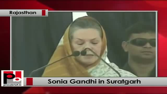 Sonia Gandhi in Suratgarh (Rajasthan): Electricity in entire villages is Congress' priority