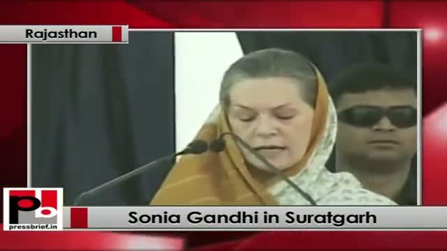 Sonia Gandhi in Suratgarh (Rajasthan) praises Gehlot Govt's free-medicines scheme