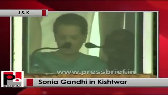 Sonia Gandhi at Kishtwar (J&K) salutes the martyrs of Srinagar militant attack