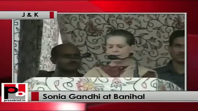 Sonia Gandhi at Banihal (J&K) congratulates the team Banihal-Quazigund railway line