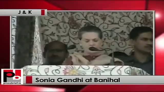 Sonia Gandhi at Banihal (J&K) UPA govt believes in inclusive growth