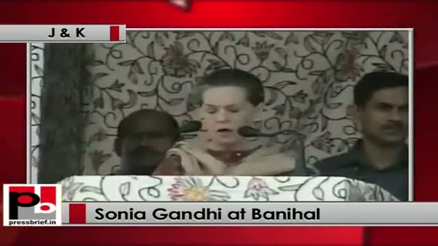 Sonia Gandhi at Banihal (J&K) lists out UPA Govt's rural welfare policies