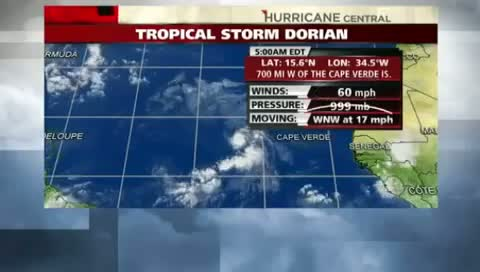 Tropical Storm Dorian gains strength in Atlantic