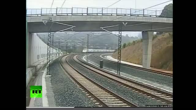 Shocking CCTV footage of Spain train crash.