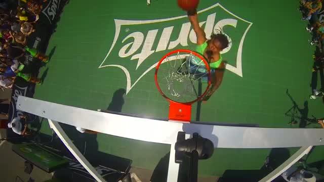 "Kwame ""2K"" Alexander, winner of the Sprite Slam Dunk Showdown in Los Angeles, CA"