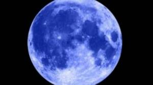 Blue Moon and Star Night Sky