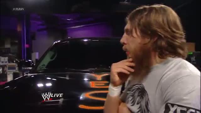 WWE Raw: Daniel Bryan defaces Randy Orton's new car with spray paint - August 26, 2013