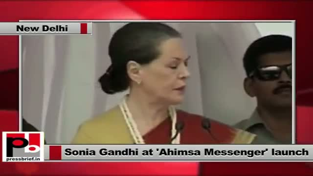 Sonia Gandhi recalls Rajiv Gandhi at the launch of Ahimsa Messenger in New Delhi