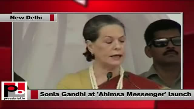 Sonia Gandhi at Ahimsa Messenger launch explains UPA policies for welfare of women