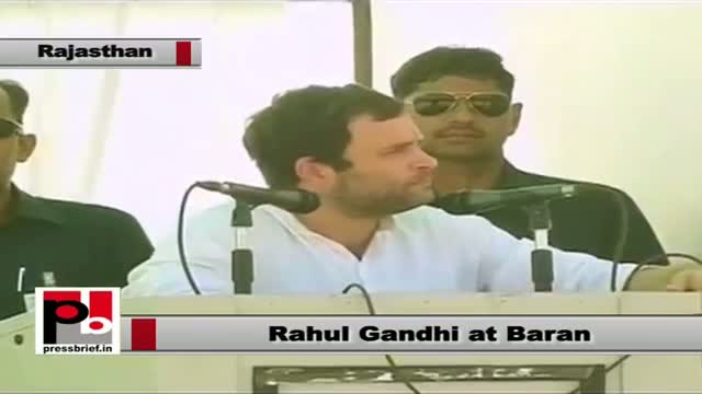 Rahul Gandhi in Baran (Rajasthan) stresses for the need of ensuring upliftment of the poor