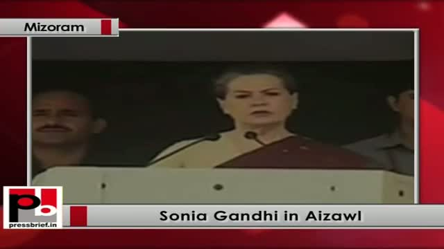 Sonia Gandhi in Mizoram speaks at the function after launching food security programme