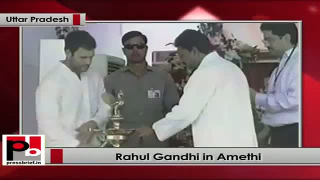 Rahul Gandhi lays the foundation stone of a mega food park project in Amethi's Jagdishpur (UP)