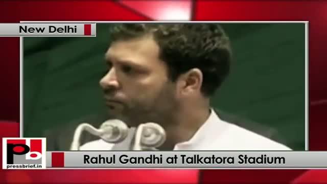 Rahul Gandhi speaks on the occasion of Dalit Adhikar Diwas at Talkatora Stadium, New Delhi