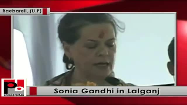 Sonia Gandhi in Raebareli at the foundation-stone-laying ceremony of a rail wheel factory