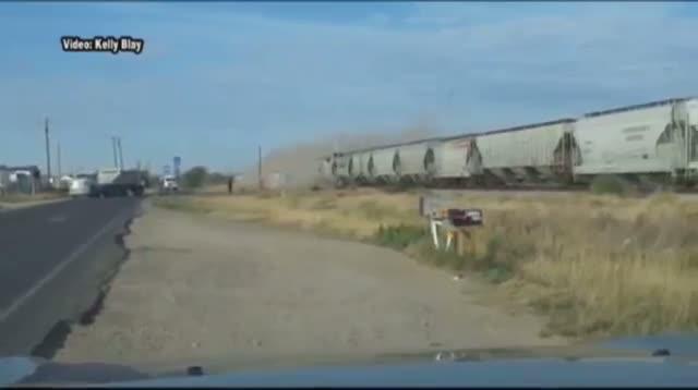 Train Hits Tractor-trailer Stuck on Tracks