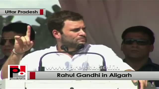 Rahul Gandhi in Aligarh: Congress-led UPA Govt gives right to the people