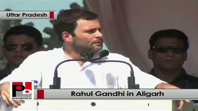 Rahul Gandhi in Aligarh exhorts the people to fight for their right