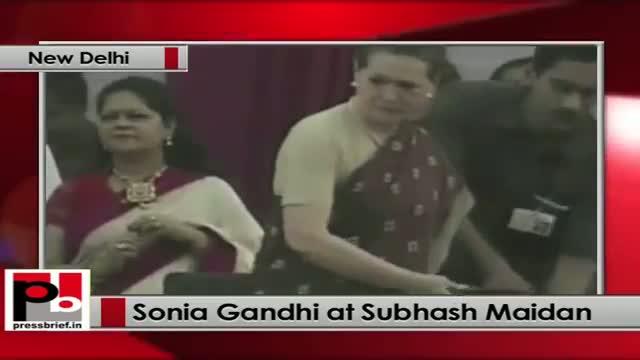 Sonia Gandhi attends Dussehra celebrations at Subhash Maidan in New Delhi