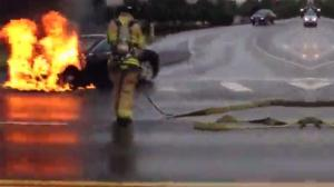 Tesla Electric Car Up In Flames