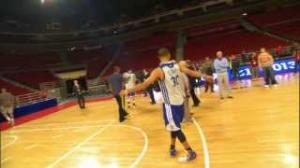NBA: Stephen Curry Trick Shot - Hits a 3/4 Court Shot in Beijing!
