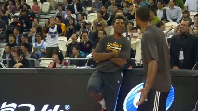 NBA: Nick Young's AMAZING Halfcourt Trick Shot in Shanghai!