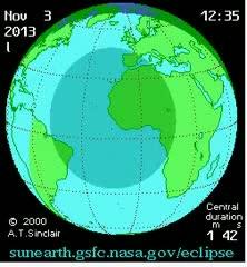Hybrid Solar Eclipse Path 3-Nov-2013 [Video]