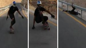 Longboarder Hits Guardrail