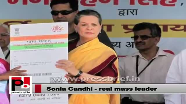 Sonia Gandhi - champion of many pro-poor welfare schemes of the UPA Govt