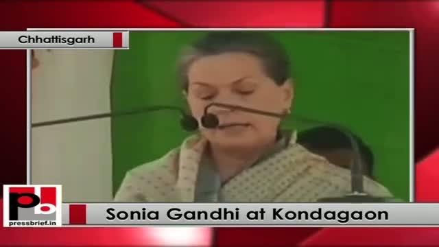 Sonia Gandhi speaks Congress rally in Chhattisgarh, slams BJP govt for neglecting security
