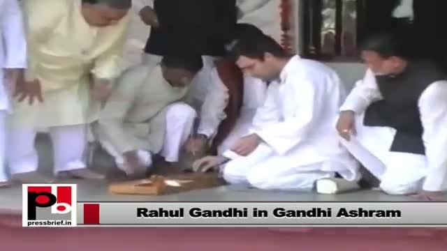 Rahul Gandhi visits Gandhi ashram during Gujarat visit