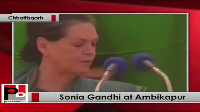 Sonia Gandhi in Ambikapur (Chhattisgarh) slams BJP; says it betrayed the people of the state