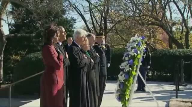 Obama Lays Wreath at JFK Eternal Flame