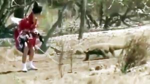 Japanese Woman Ties Meat To Herself Races Komodo Dragon