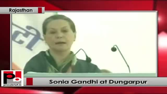 Sonia Gandhi speaks at Congress election rally at Dungarpur (Rajasthan)