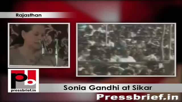 Sonia Gandhi in Sikar, Rajasthan praises Congress government, attacks BJP misleading people