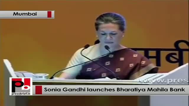 Sonia Gandhi at the launch of first ever all-women-bank - the Bharatiya Mahila Bank