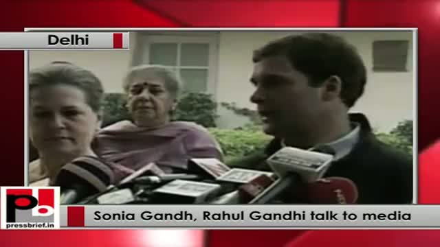 Sonia Gandh, Rahul Gandhi talk to media after the assembly poll results