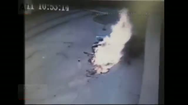 Woman Injured in Fiery Gas Station Crash