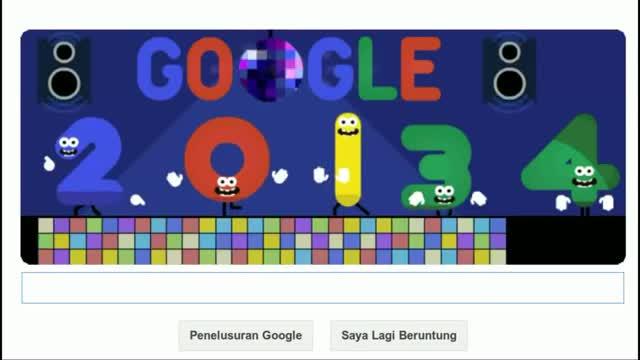 31st December 2013 - Google Doodle - Happy New Year 2014 Creative - Bye Bye 2013
