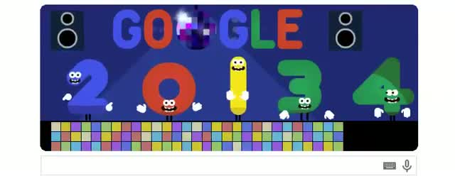 Google Doodle Presents Happy New Year 2014 Doodle On 31 December 2013 (2013 New Year's Eve)