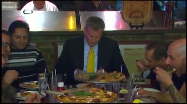 NYC Mayor Eats Pizza With Fork and Knife
