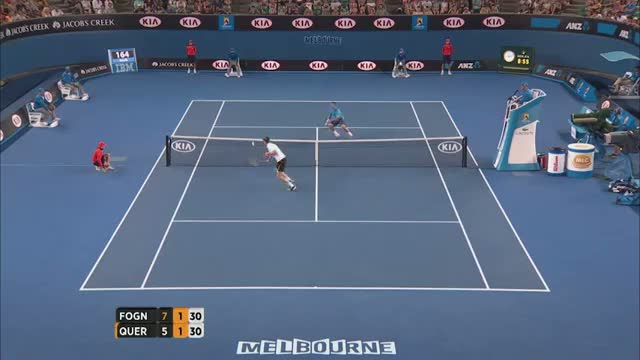 Fognini's amazing rally and dive - 2014 Australian Open