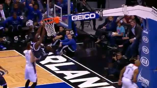 NBA: Victor Oladipo Gets the Steal and Throws Down the Rim Rocker