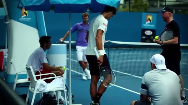 Djokovic and Becker practice session - 2014 Australian Open